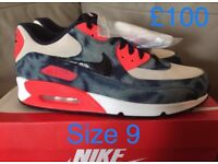 New with box genuine Nike air max 90 infrared washed denim