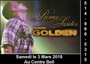 Romeo Santos, 03/03/18, Centre Bell, Section Parterre rangé B