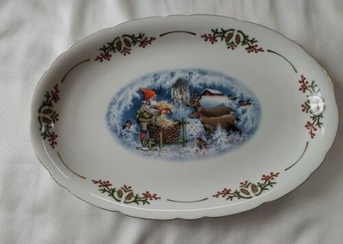 "Christineholm OLD FASHIONED CHRISTMAS Platter 13.5 "" Elves Gnomes  Lars Carlson"