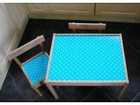 Blue Polka Dot Kids Table and Chairs set