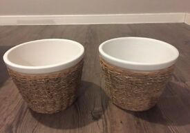 Pots wrapped in straw