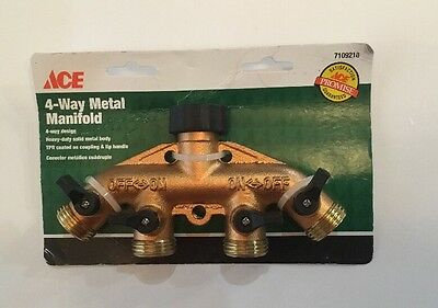 Brass 4-Way Water Hose Manifold Connector ~ Ace 7109218 ~ New ~ Free Shipping!