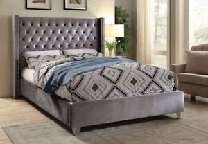 BRAND NEW IN BOX VELVET TUFTED FABRIC BED - WE DELIVER