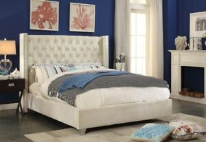 BRAND NEW SEALED IVORY VELVET TUFTED BED - WE DELIVER