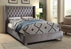 BRAND NEW IN BOX GREY TUFTED FABRIC BED - QUEEN SIZE
