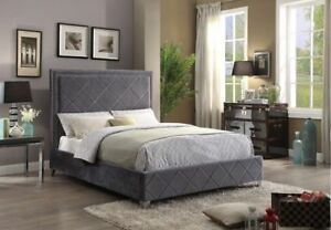 BRAND NEW SEALED VELVET BED WITH NAILHEADS FREE DELIVERY IN GTA