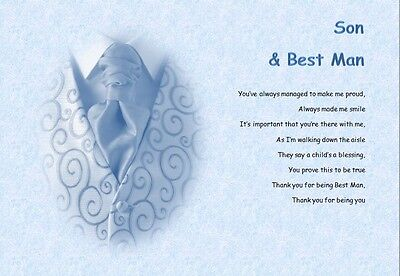 SON BEST MAN (young) personalised poem (Laminated