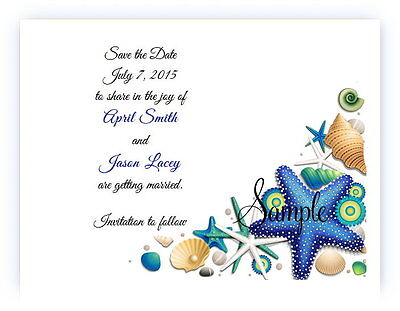 100 Personalized Custom Blue Beach Shells Bridal Wedding Save The Date Cards
