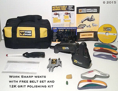 Work Sharp WSKTS Knife and Tool Sharpener Premium Pkg w/ Free Strop Polish Kit