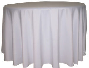 White Round Floor Length Tablecloths