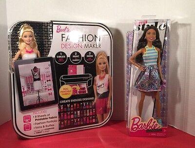 Barbie Fashion Design Maker & Barbie Fashionistas Doll NIB CREATE•PRINT•DRESS
