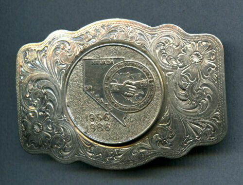"""Nevada AFL-CIO 1956 1986 35 Years Belt Buckle Silver-plated 2¼"""" x 3¼"""" scratches"""