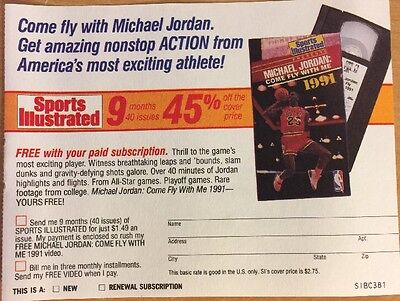 "Michael Jordan Mail In Subscription For Sports Illustrated 1991, 4 1/2"" X 5 1/2"""