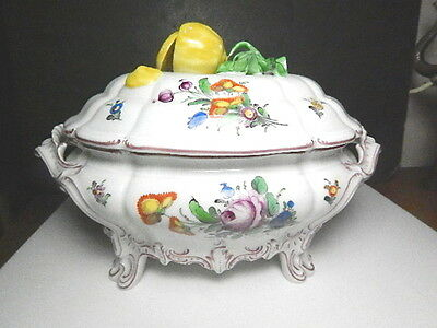 NYMPHENBURG Covered Tureen, Cumberland Floral w/Lemon Finial