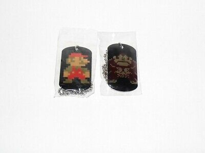 SUPER MARIO DOG TAGS PIXEL 8-BIT MARIO & DONKEY KONG LOT OF 2