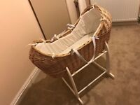 Clair de Lune Moses Basket, Complete with White Cradle Excellent Condition Moses Basket