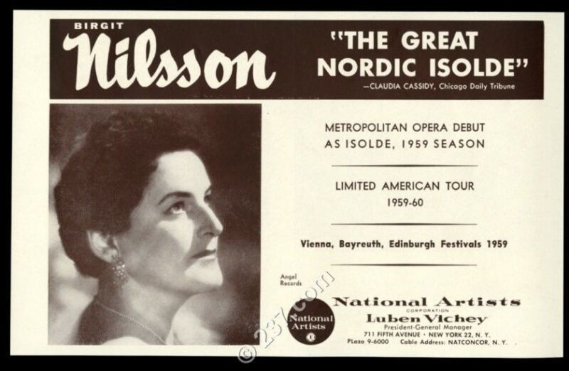 1959 Birgit Nilsson photo opera recital tour trade booking ad