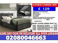 Sara- Single ... Double ... Small Double and King Size LEATHER BEDstorage BED