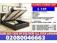 Sara- Single ... Double ... Small Double and King Size LEATHER storage BED