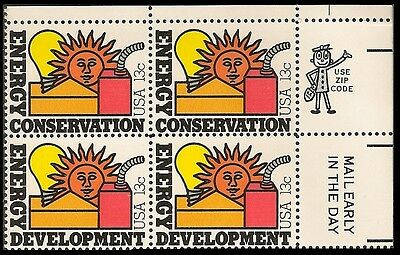 Us 1723 Energy Conservation 13C Mail Early Zip Block Ur Mnh 1977