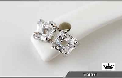 Super Sparkling Square! Silver/Emerald-Cut AAA Cubic Zirconia Stud Earring