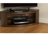 AVF Buckingham Oval TV Stand Rounded Round Wood & Glass Affinity LED CURVE