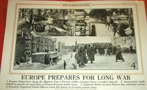 EUROPE PREPARES FOR LONG WAR OCTOBER 20 1939 POSTER WWII England France Germany