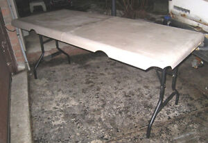 Large heavy duty Plastic Folding table with metal base