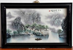 Chinese painting on ceramic - tableau chinois sur la céramique