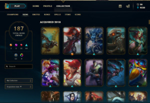Compte League of Legends tout les champions 187 skins !