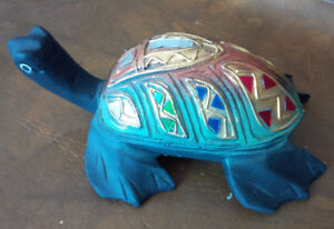 Turtle Carved From Wood, Mosaic Mirrored Shell