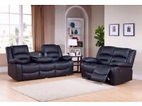 *SALE* BRAND NEW FACTORY SEALED - CUP HOLDER RECLINER 3+2 SOFA £399.99