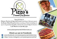 -In Home Personal Chef Services- Private Catering 250-667-3571