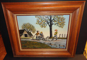 Vintage OIL Children Playing by Barn signed H. HANGROVE