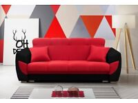 Sofa bed black and red with storage box brand new