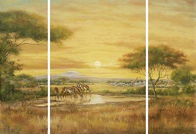 Bild Triptychon Kunstdruck auf Holzfaserplatte Malerei Ocker 69x99x1,2 cm A1RQ