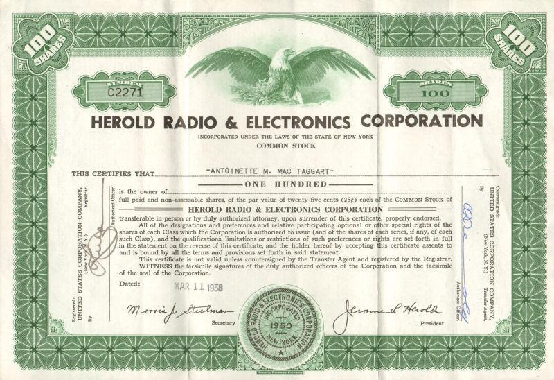 Herold Radio & Electronics > 1958 New York stock certificate scripophily share