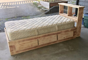 Kids single bed frame (needs painting) and mattress