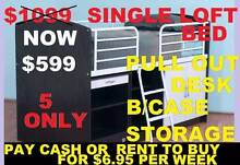 BRAND NEW BUNKS BED SINGLE LOFT BED WITH DESK AND BOOKCASE Ipswich Region Preview