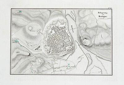 1857 Badajoz Napoleon Spanischer Unabhängigkeitskrieg Kupferstich-Plan