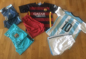 Lot of 4 Boys FC Barcelona Messi Soccer Kits (Size 10/12)