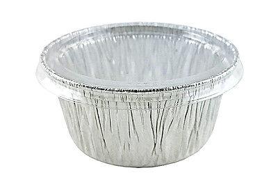 - 4 oz. Aluminum Foil Cup w/Clear Flat Lid 100 PK - Utility/Cupcake/Ramekin/Muffin