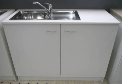 New Seytim 1200 Kitchen Cabinet Package Mixer Tap Waste Sink Set