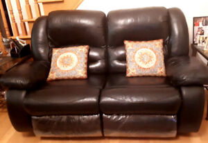 Leather coaches  black recliners for sale