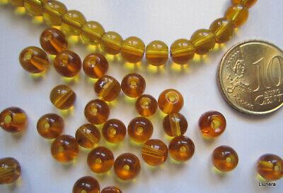 Perlas bola cristal transparente 6 mm X 50 UNIDADES color miel abalorios