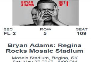 Bryan Adams/Our Lady Peace/Johnny Reid Ticket