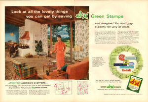 2-page (20 ½  x 14) color magazine ad for 1956 S&H Green Stamps