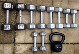 Hex Metal Dumbbells and Kettlebell