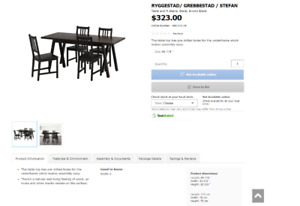 IKEA Dining Table set-seats 4 BLACK