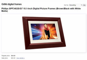 GiiNii Philips 10.1-Inch LED Digital Photo Hardwood Frame